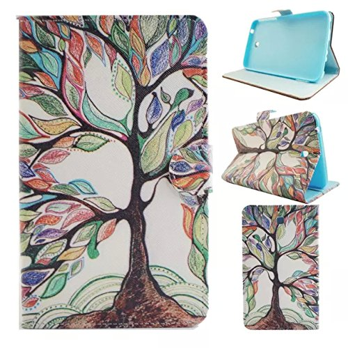 Galaxy tab 3 7.0 T210 case,UUcovers Stand Wallet Case [Money/Card Slots ] Cover for Samsung Galaxy Tab 3 7.0 T210/T217/P3200/P3210 (Colorful Tree)