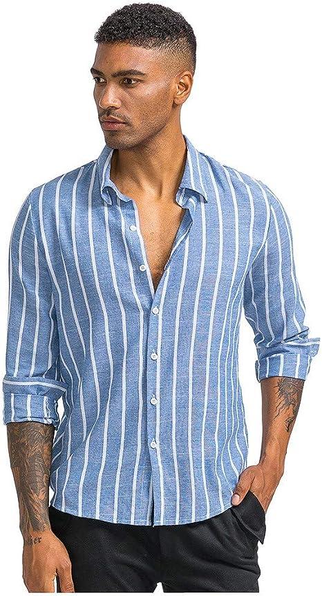 jfhrfged Camisas de Hombre Casual con Botones a Rayas Estampadas Manga Larga Slim Fit Camisetas Tops: Amazon.es: Deportes y aire libre