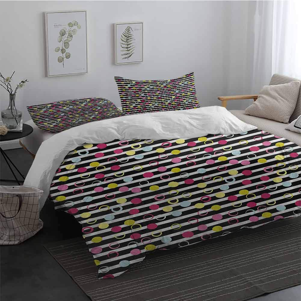 Printed Pattern Soft Cozy and Durable Bedding Set Colorful Hand Drawn Grunge Inspired Composition of Circles and Dots on Stripped Backdrop Easy Fit Extra Soft Multicolor Long Twin