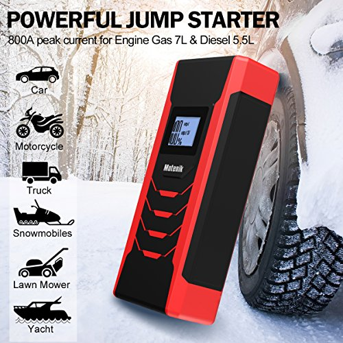 Motenik 800A Peak 15000mAh Portable Car Jump Starter with Emergency Light (Up to 7L Gas or 5.5L Diesel Engines) 5 Modes Car Jump Starter Auto Battery Booster Dual USB Power Bank Updated Version by Motenik (Image #1)