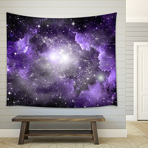 Stars of a planet and galaxy in a free space Fabric Wall Tapestry