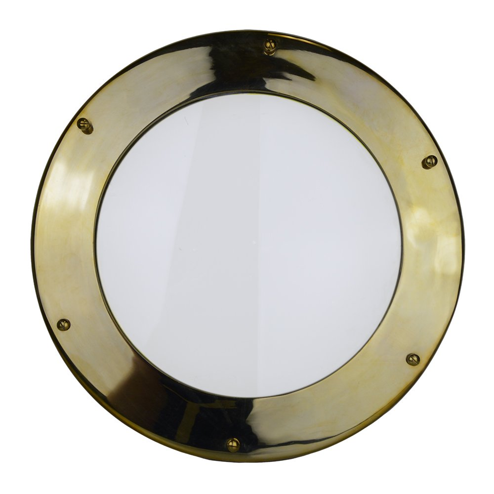 "Nautical Tropical Imports 16"" Solid Brass Non-Opening Deadlight Porthole Window 1 7/8'' Deep Flange - Perfect for Doors!"