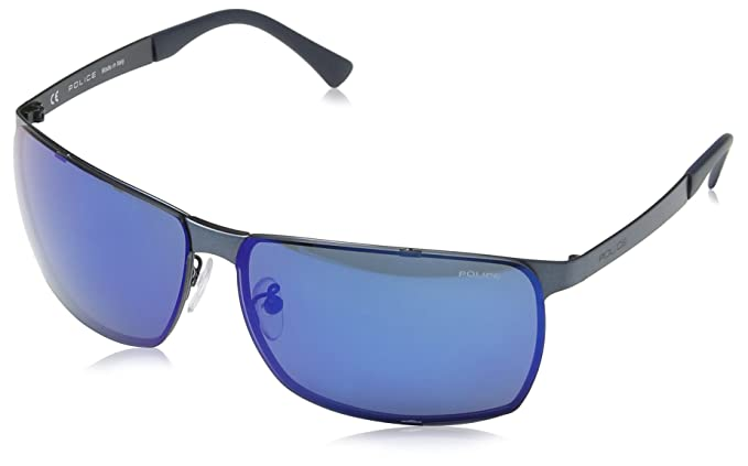 Police Gafas de sol Deportivas S8959 Cube 6, MATT ANTIQUE BLUE FRAME/BLUE MIRROR
