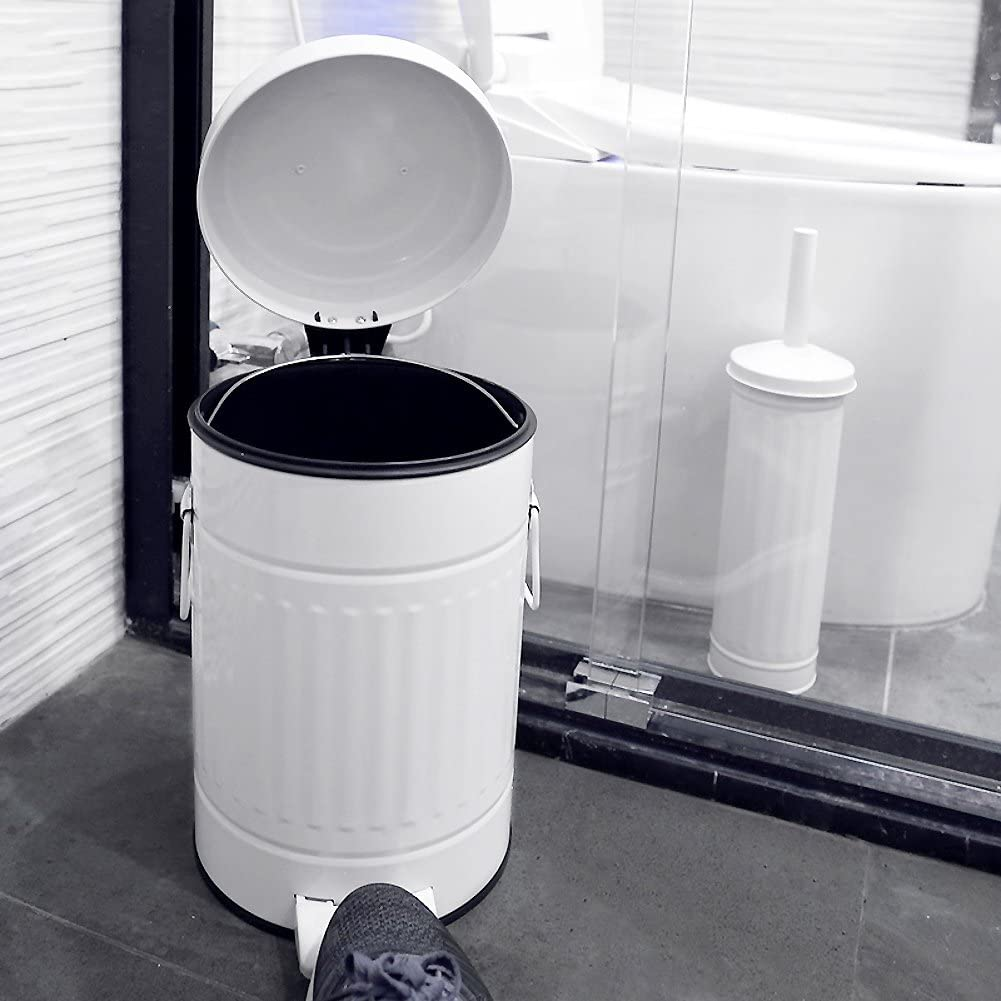 Pedal waste bin Trash can with lid Round Metal Removable Sturdy Step trash can Living room Bedroom Bathroom Kitchen Office waste bins-WhiteA