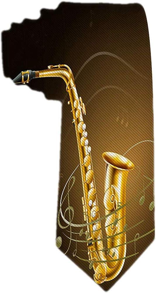 Cravatta da cerimonia formale da uomo con cravatta in jacquard classica con note musicali in sassofono