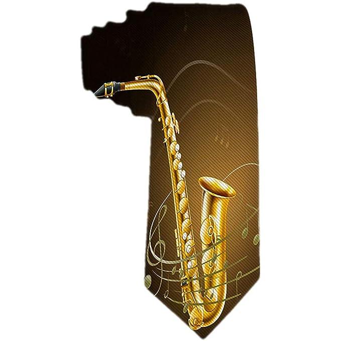 Hombre Saxofón clásico Notas musicales Jacquard Corbata tejida ...