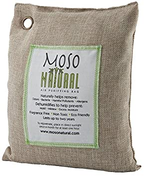 Moso Natural Air Purifying Bag. Odor Eliminator for Kitchens, Basements, Bedrooms, Living Areas. Charcoal Color, 500-G MB8720