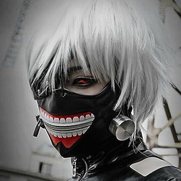 Máscara de Piel de Kaneki Ken Tokyo Ghoul Ajustable con Cremallera sintética para Cosplay, Halloween, Color Negro