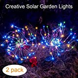 diy outdoor christmas decorations Outdoor Solar Garden Decorative Lights-Mopha Solar 105LED Powered 35Copper Wires String Landscape Light-DIY Flowers Fireworks Trees for Walkway Patio Lawn Backyard,Christmas Party Decor(Multi-Color)
