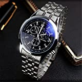 New Men Fashion Military Stainless Steel Analog Date Sport Quartz Wrist Watch