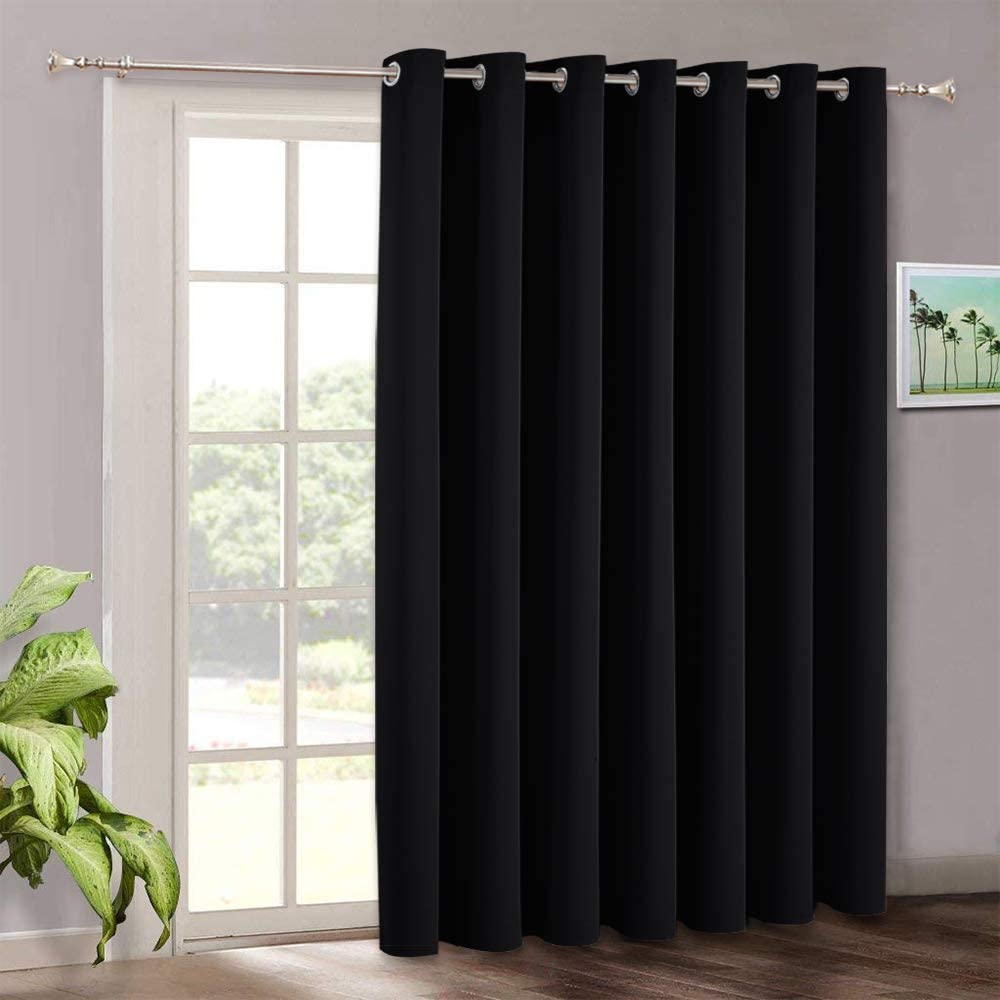 RYB HOME Black Curtains for Bedroom - Blackout Patio Sliding Glass Door Curtains Grommet, Heavy Duty Vertical Blinds Shades for Living Room Sun Room Church Ceremony Garage, W 100 x L 108
