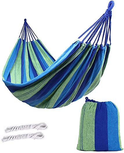 ValueHall Outdoor Soft Cotton Fabric Brazilian Hammock Double Wide 2 Person Travel Camping Hammock 7010-1 Blue