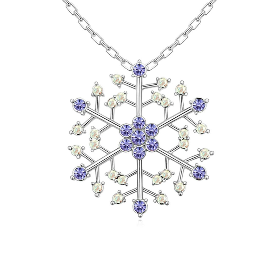 Daesar Gold Plated Womens Snowflake Necklace Rhinestone CZ Pendant Necklace for Women