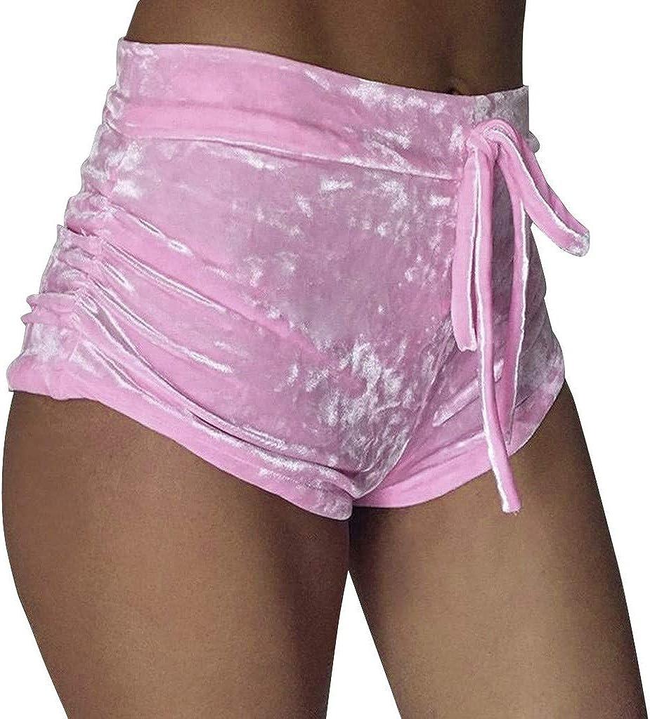 Shimigy Women Crushed Velvet Runner Casual Fashion Shorts High Waist Hot Pants