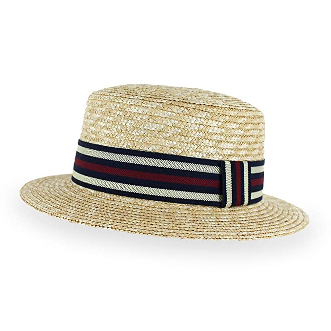 7642fd641a9ea 1940s Mens Hat Styles and History Belfry Boater Straw Skimmer Adjustable  Spring Summer Fedora Hat  49.95