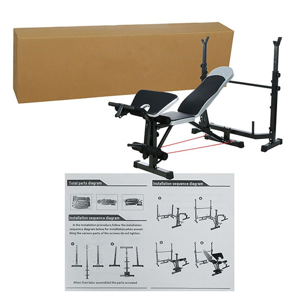 Olympic Weight Bench, Adjustable Professional Multi-Functional Workout Bench set with Preacher Curl / Leg Developer / Crunch Handle for Indoor Exercise by Cosway