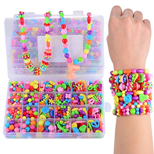 Licien Sunshine DIY Beads Set with Different Types and Shapes of Colorful Acrylic Jewelry Beads in a Box for Children Necklace and Bracelet Crafts gift Best DIY Beads Toys for -
