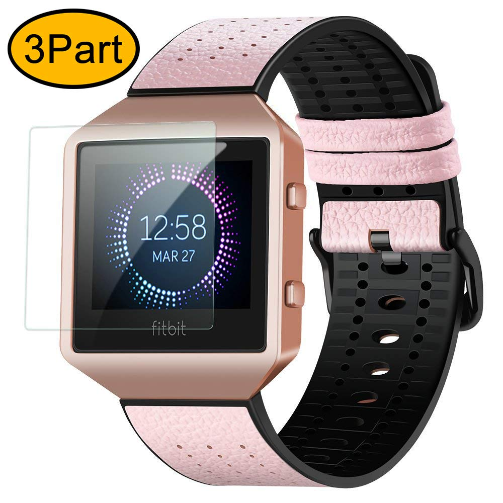 Fitbit Blaze Bands for Men&Women, greatgo 3 in 1 Replacement Adjustable Leather Watch Wristband TPU Strap with Metal Case Rose Gold Frame Screen Protector Cover Accessory Set for Sport Watch (Pink)