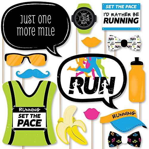 - Big Dot of Happiness Set The Pace - Running - Track, Cross Country or Marathon Party Photo Booth Props Kit - 20 Count
