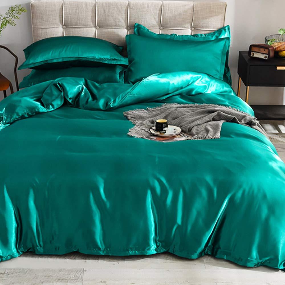 Generic Silk Flat Queen Bedsheet Quilt Cover Set, Green, 180 x 230 cm, VG-3BS-SILK-G