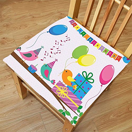 Nalahome Set of 2 Waterproof Cozy Seat Protector Cushion Birthday Decorations for Kids Singing Birds Happy Birthday Song Flags Cone Hats Party Cake Multicolor Printing Size 18x18inch by Nalahome