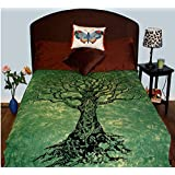 Green tree of life , tree art ,Indian Tapestries,bed sheets ,bed spread,hippy bed sheets,wall hangings,ethnic decor,home decor bed sheets,throw,picknic blankets,dorm tapestries By Montreal Tappesier