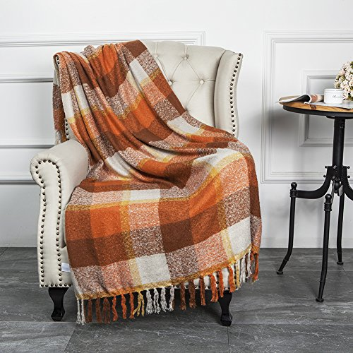 Stadium Throw Blanket - Home Decorations Super Soft Vintage Fluffy Plaid Throw Blanket-100% Acrylic Cashmere-like- Bedspread Picnic Tailgate Stadium RV Camping Blanket Throw with Fringe,50