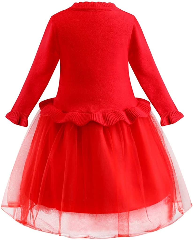 2-10Years Toraway Girls Party Dress Kids Girls Deer Christmas Xmas Knitted Party Tulle Swing Wedding Princess Dress