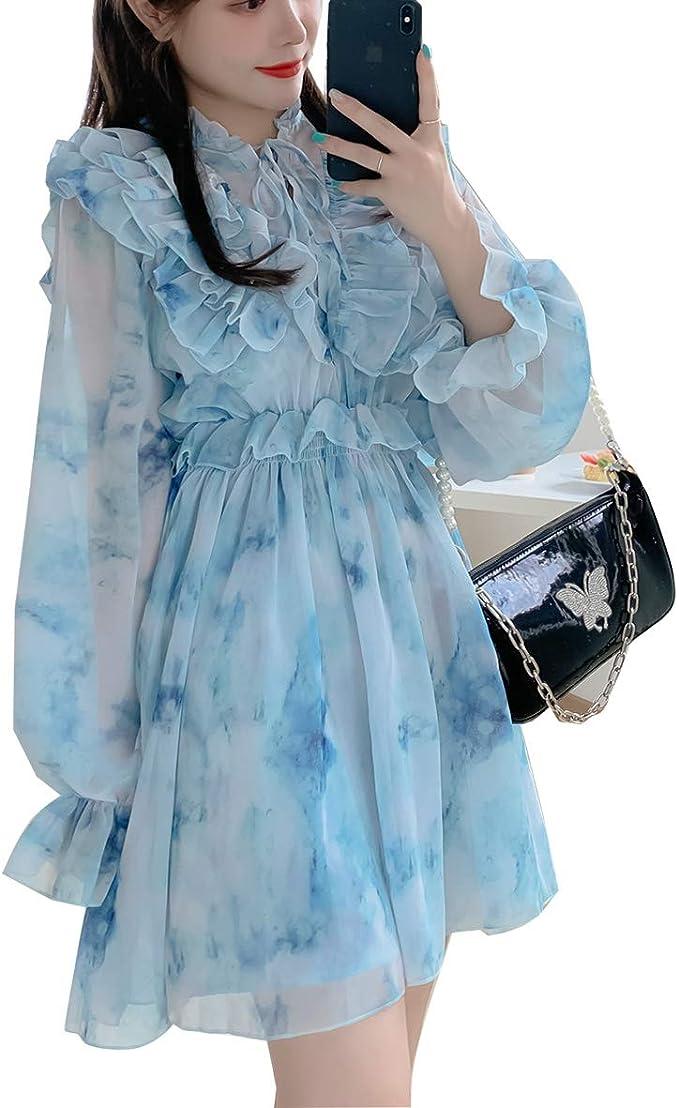 Ilovgirl Mode Kleid Sky Blue Chiffon Ruschen Wunderschone Sommer Elegante Heisse Ig Party Frauen Kleider Amazon De Bekleidung