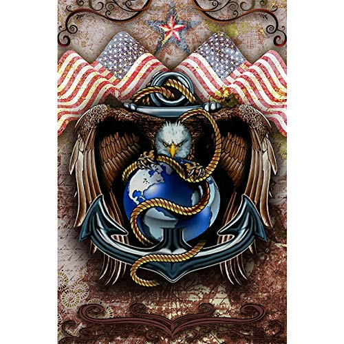 5D DIY Diamond Painting, Crystal Eagle American Flag, Cross Stitch Embroidery Animals Full Round Drill Diamond Pattern, Home Decoration (Picture Size:40X60cm) 16X24 inch (Flag Embroidery Eagle)