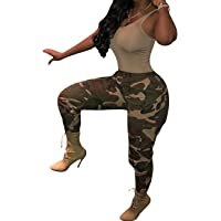 SOMTHRON Women's Printed Loose Hip Hop Harem Cargo Pants Belted Casual Camo Swaggy Sweatpants Leggings