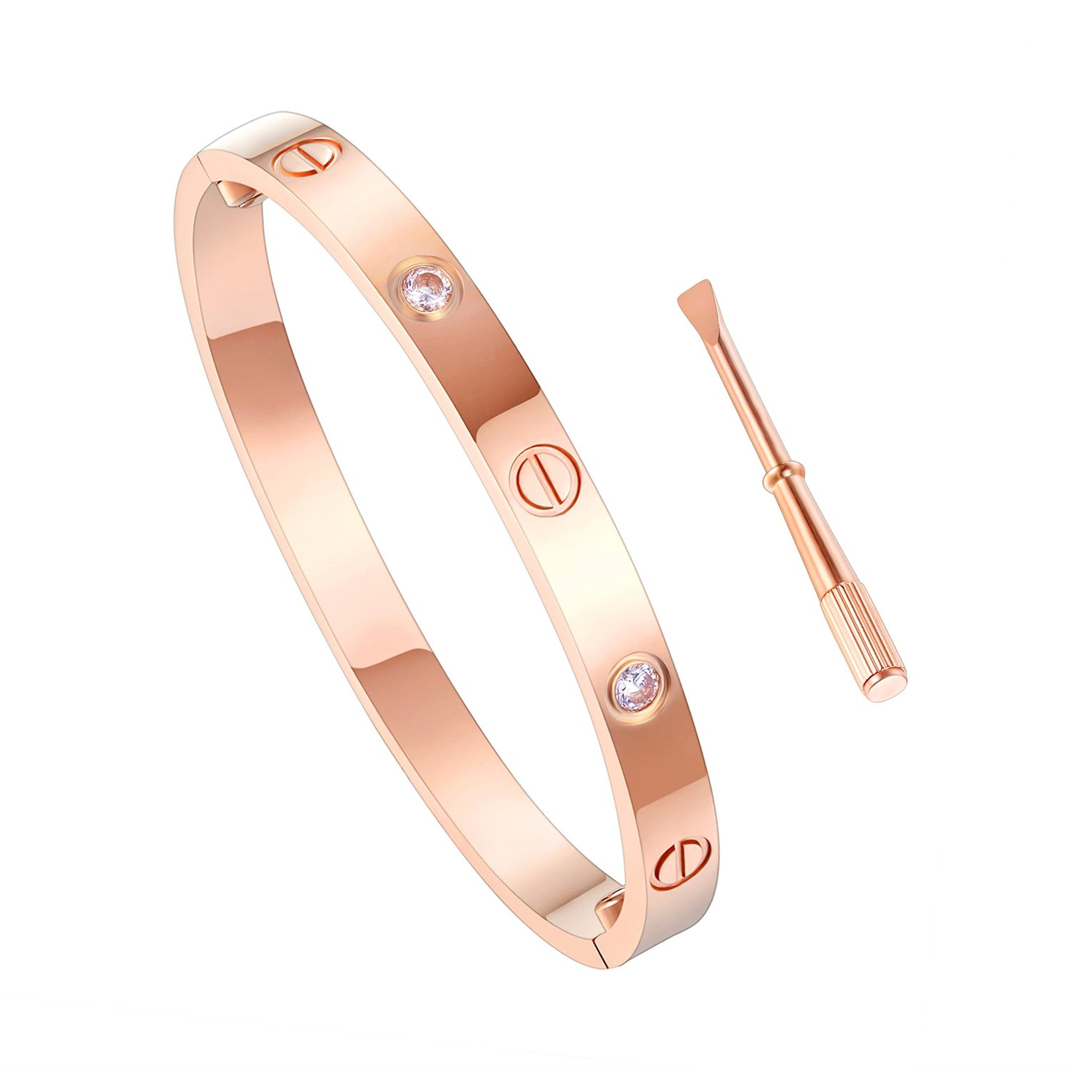 Z.RACLE Love Bangle Bracelet Stainless Steel with Screw - Best Gift for Love - 6.3IN Rose Gold CZ