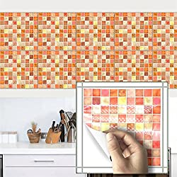 """AmazingWall 10PCS Mosaic Brick Tiles Kitchen Backsplashes Sticker Peel and Stick, Orange 7.87x7.87"""""""