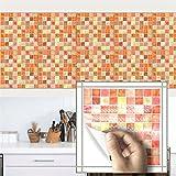 AmazingWall 10PCS Mosaic Brick Tiles Kitchen Backsplashes Sticker Peel and Stick, Orange 7.87x7.87''