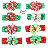 Pretty See Children Christmas Headbands Baby Girl Hairband Adorable Hair Wraps with Bowknot Design for Christmas, Party, Shopping and Travel, Set of 8