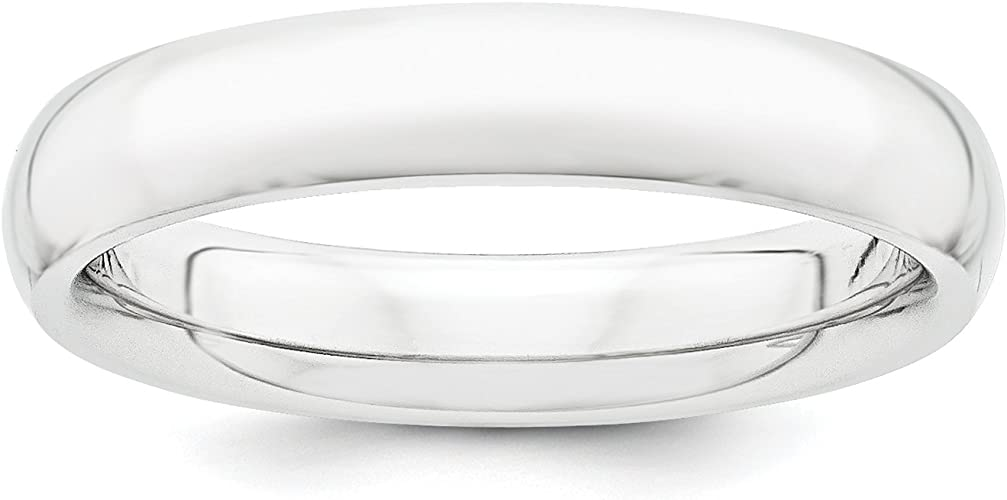Diamond2Deal 10k White Gold 4mm Half Round Wedding Band Fine Jewelry Ideal Gifts for Women