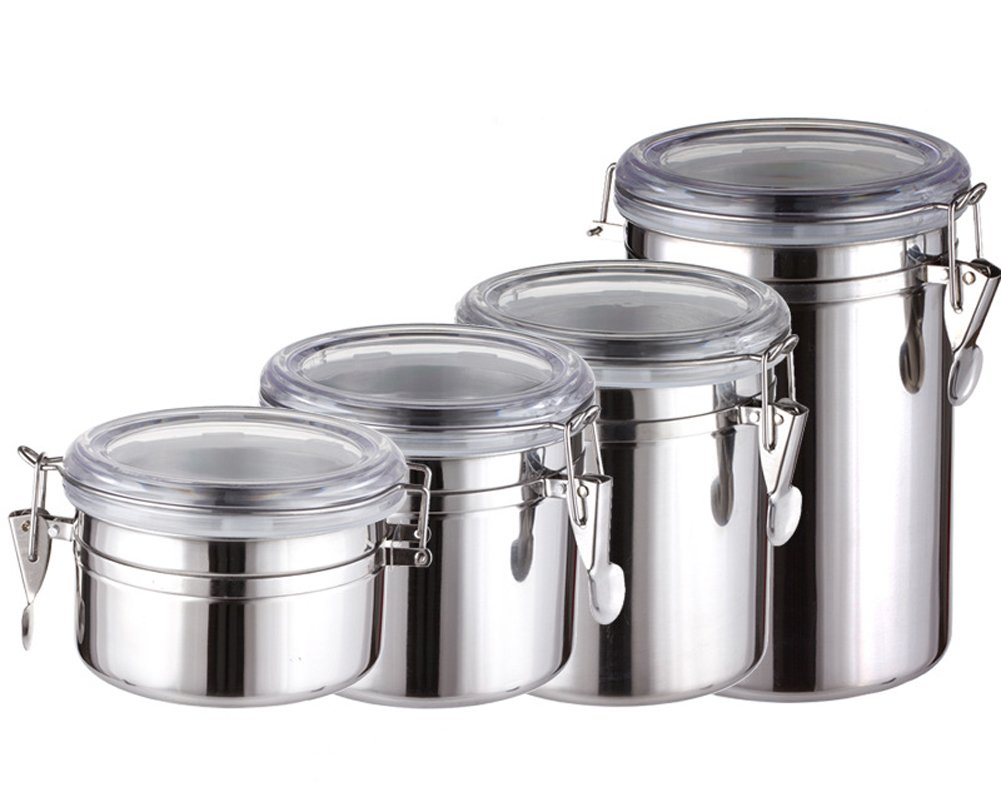 Fashionclubs Stainless Steel Airtight Storage Canister with Lid and Clamp,Food Storage Container 0.76L