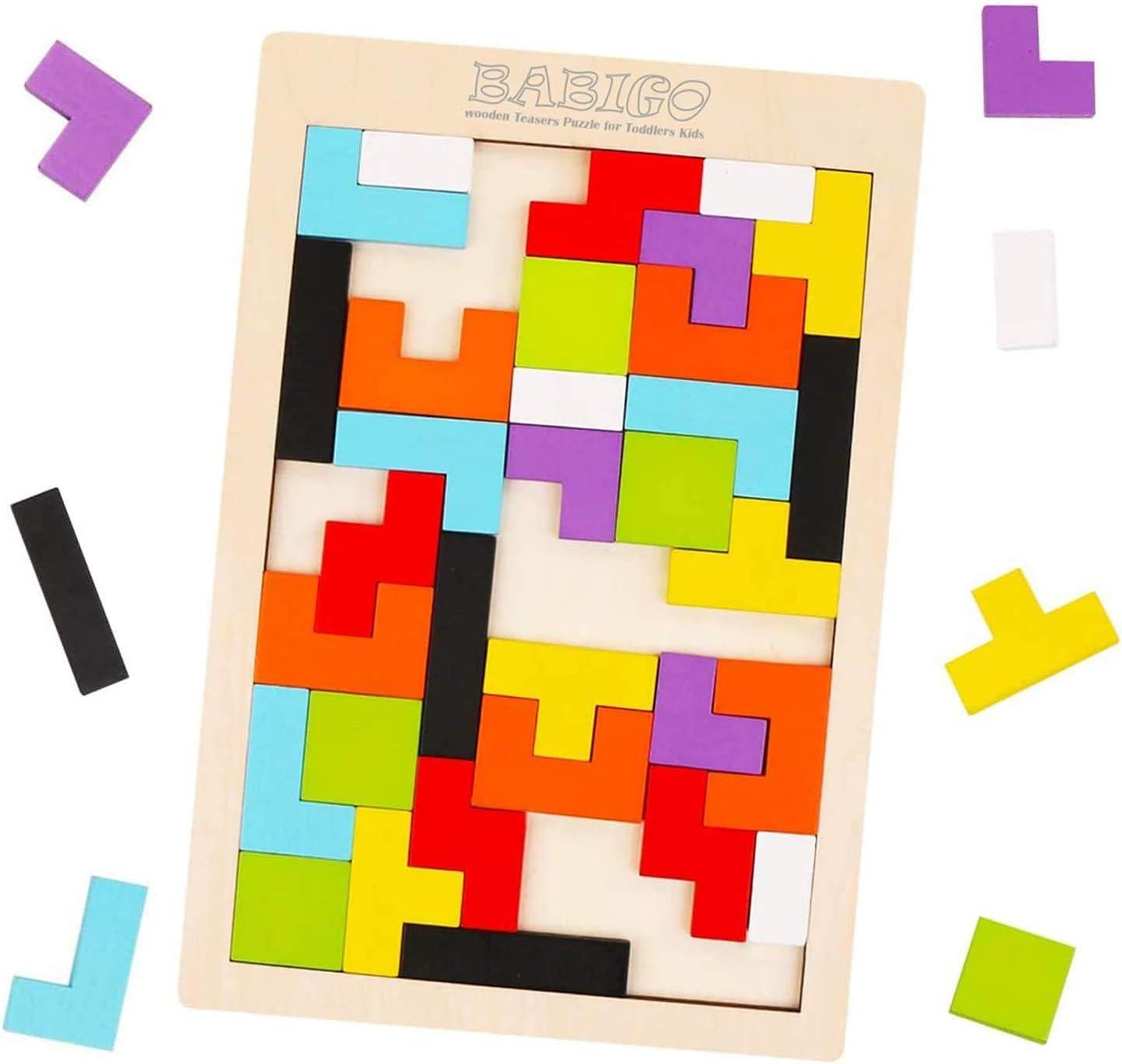 Babigo Wooden Puzzle Brain Teasers Toy, Tangram Jigsaw Puzzle, Brain Teasers Toy, Stem Toys with Colorful 3D Russian Blocks,Montessori Educational Gift for Kids & Adults