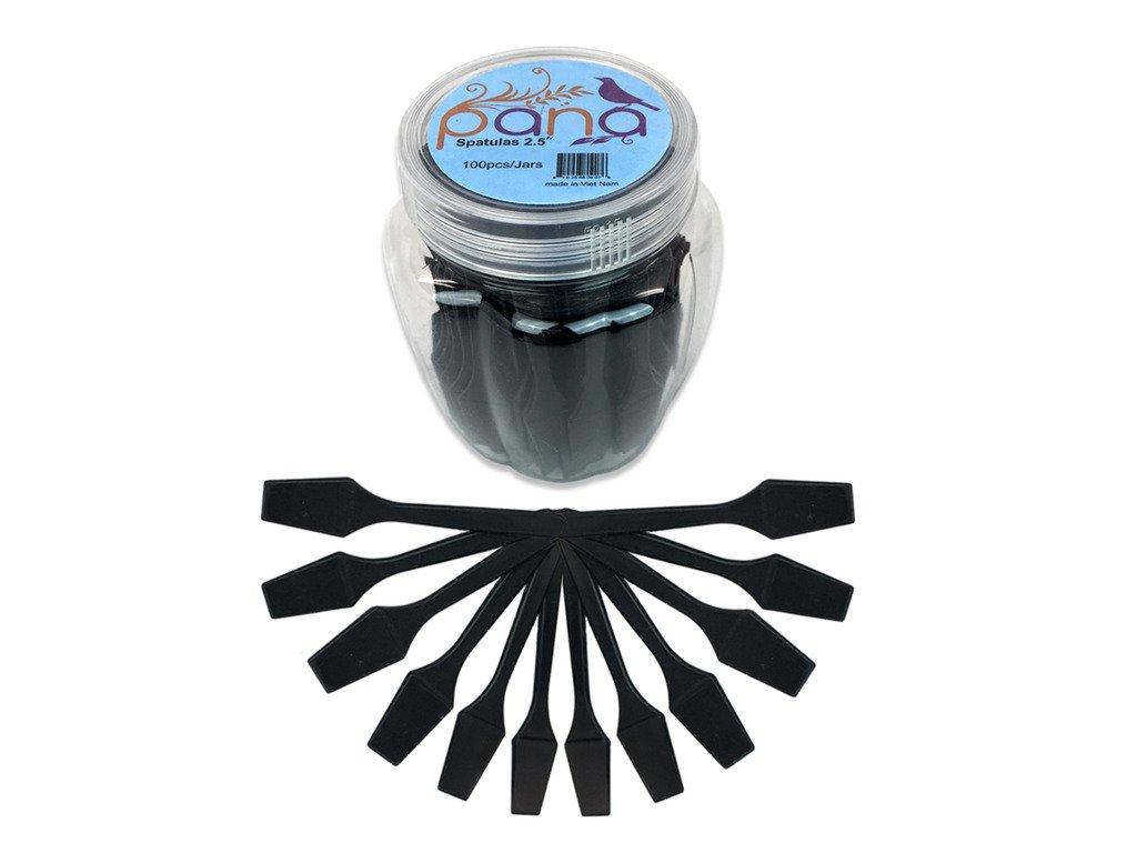 "100 Pieces Cosmetic MakeUp Disposable Plastic 2.5"" Spatulas For Skin Care Facial Cream Mask Spatula (BLACK)"