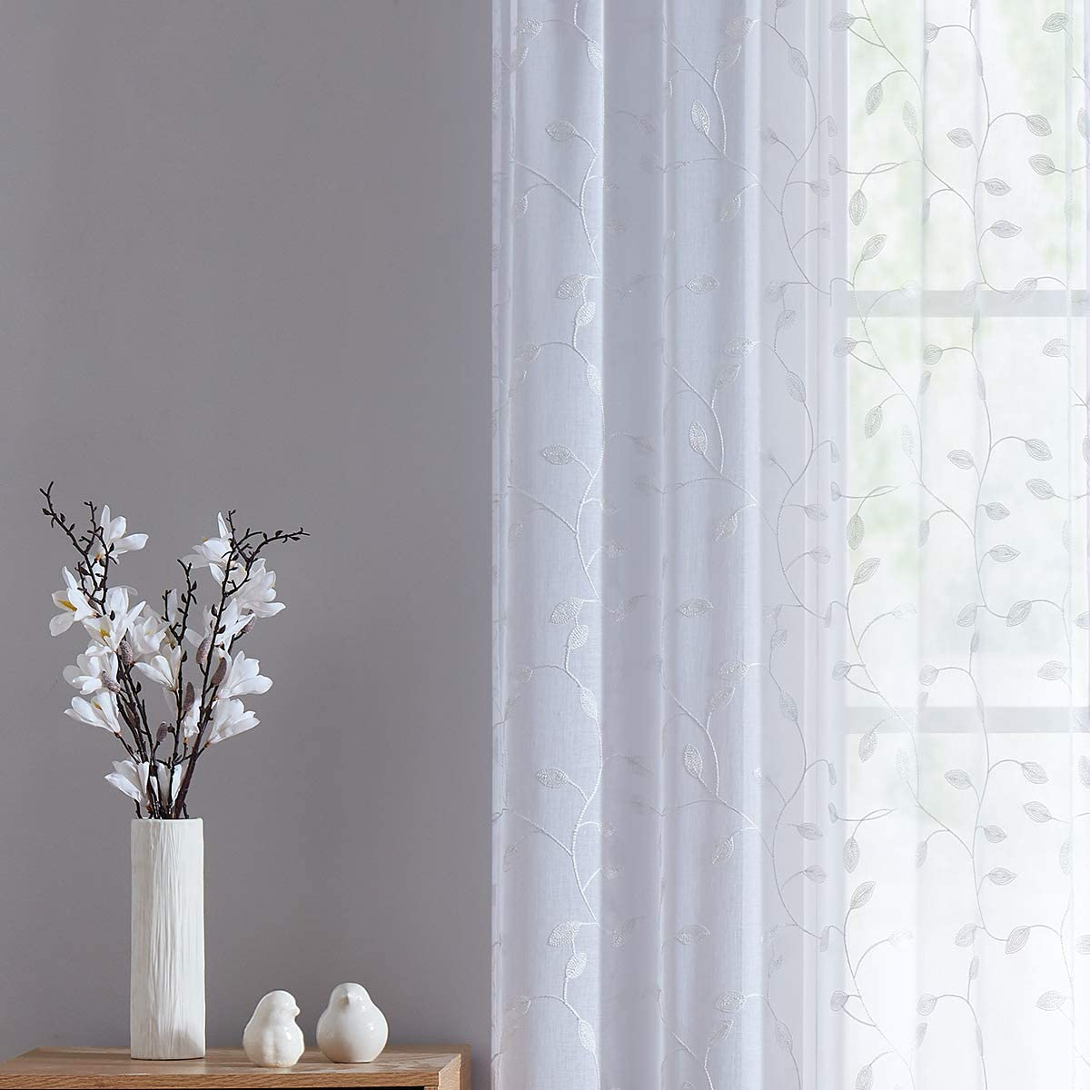 Fragrantex Bedroom Curtains White Embroidered Sheer Curtains for Home Botanical Window Curtain Panels for Living Room 95 inch Long Curtains Rod Pocket W38xL95 2Panels