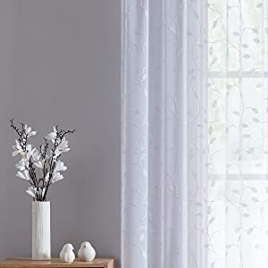 Fragrantex Bedroom Curtains White Embroidered Sheer Curtains for Home Botanical Window Curtain Panels for Living Room 95 inch Long Curtains Rod Pocket,W38xL95/2Panels