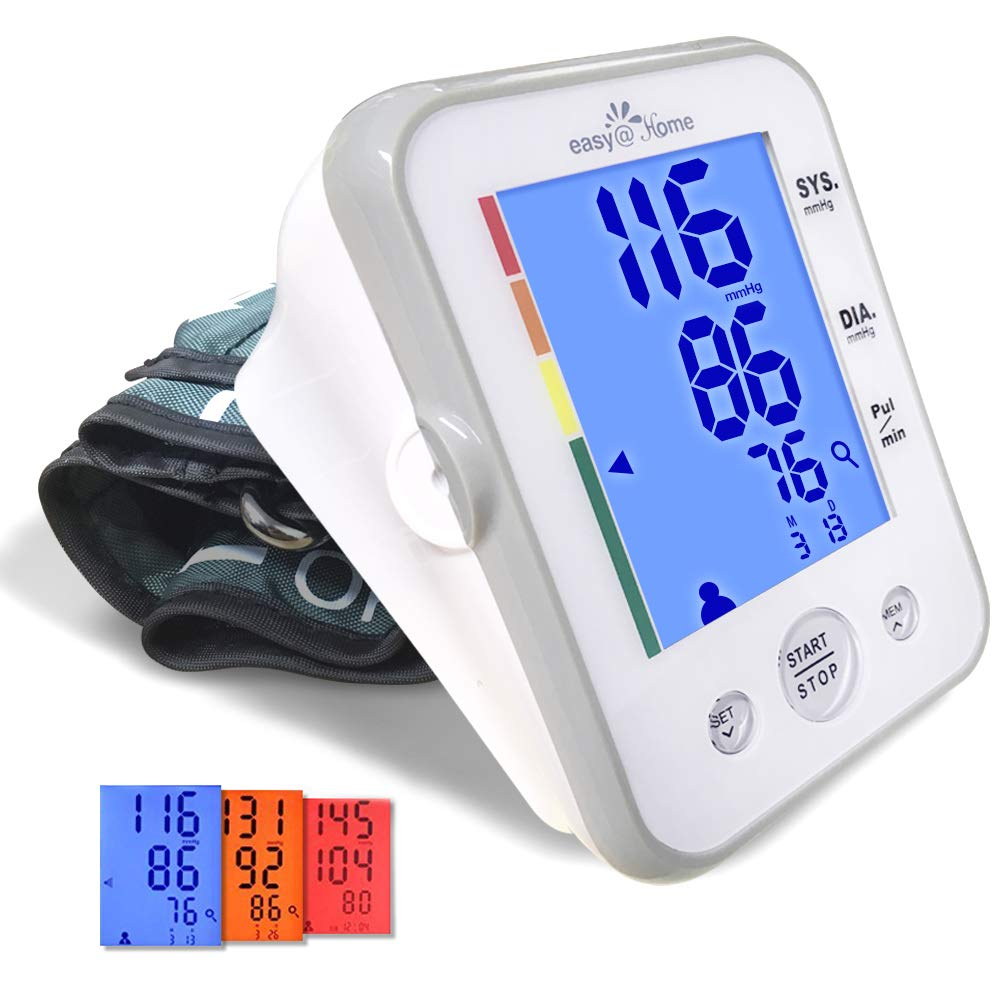 Large Cuff Easy@Home Digital Upper Arm Blood Pressure Monitor (BP Monitor), 3-Color Hypertension Backlit display and Pulse Meter-FDA Cleared for OTC, IHB Indicator, 2 User, FSA Eligible EBP-095L by Easy@Home