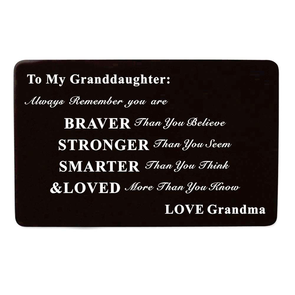 Laser Engraved Aluminum Metal Wallet Card Love Note Insert Card Gift for Granddaughter Birthday Gift from Grandma Grandmother
