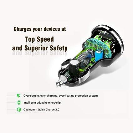 Enjoybot Quick Charge 3.0 Cargador de Coche Doble Puerto 30W Adaptador Automóvil para Samsung Galaxy S8 / Note 8 / S7, iPhone 8/8 Plus / 7 y Más …