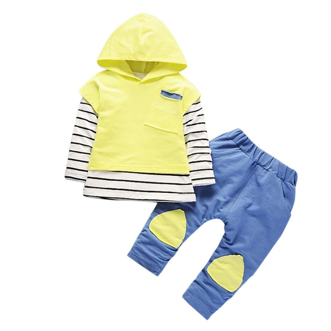 2b09a436e0 Saingace Long Sleeve Autumn Winter Toddler Kids Baby Boy Girls Outfits  Hooded Stripe T-Shirt Tops+Pants Clothes Set for 1 Year- 3 Year Baby (1PC  Tops 1PC ...