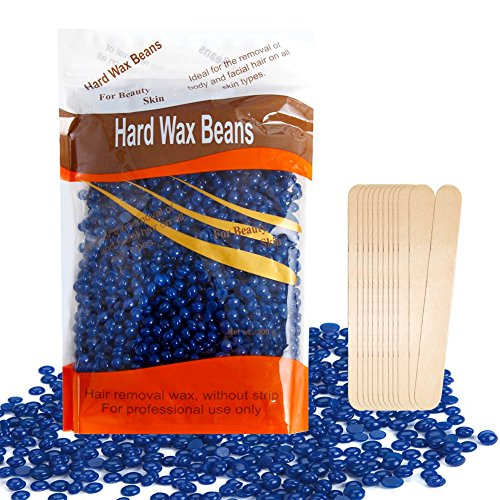 Wax Beans, Hair Removal Body Solid Depilatory Wax, Natural Hot Film, 10.5 Ounces/bag (Blue) Chamomile with 12pcs Wooden Spatula by Aimike