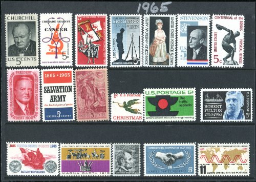 Complete Mint Set Of Postage Stamps Issued In The Year 1965 By The U S  Post Office Dept   18 Total Stamps