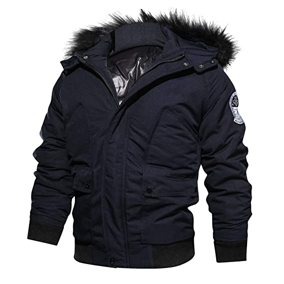 Amazon.com: iOPQO Mens Down Jacket, Winter Casual Long Sleeve Solid Cotton Tops Hooded Jacket: Clothing