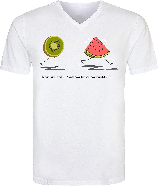 PasTomka Kiwi Walked S0 Watermelon Sugar Could Run Mens T-Shirt V Neck Hombre Camiseta Large: Amazon.es: Ropa y accesorios