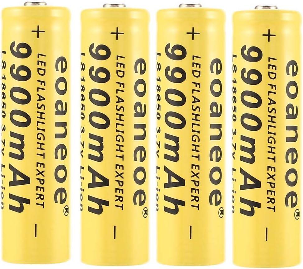 Bater/íA Amarilla 18650 De 4 Piezas Para Linterna Led Bater/íA Recargable De Litio Iones De 3,7 V 9900 mAh Antorcha De Iones De Litio Experto En C/éLulas Acumuladoras